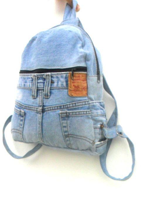 LEVIS jeans mochila denim reciclado jean bolsa mochila mochila by  Avivahandmade  10c8ab981a3