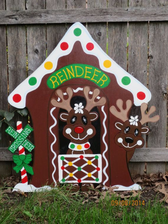 Christmas Gingerbread Reindeer Stable Wood Outdoor By Chardoman Christmas Yard Decorations Wooden Christmas Decorations Christmas Yard Art
