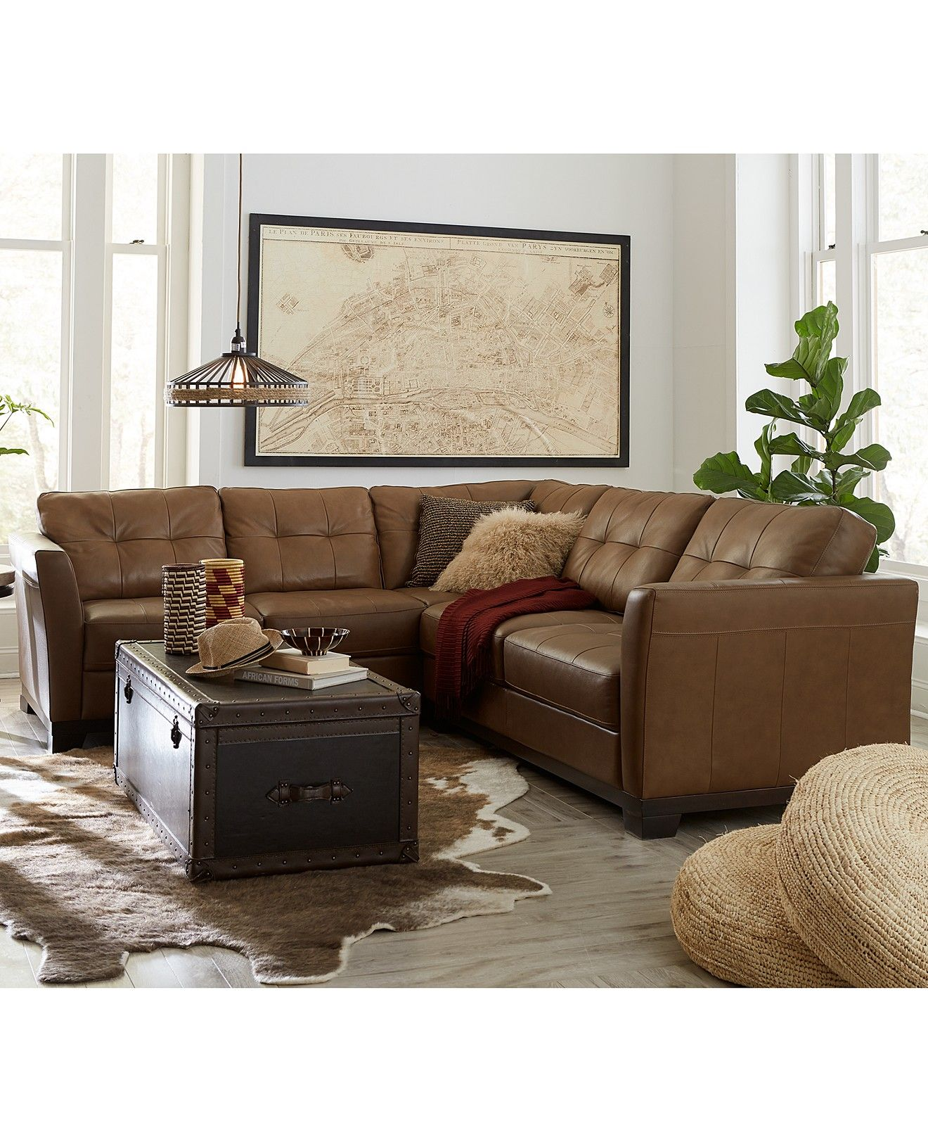 Martino leather sectional living room furniture collection - Apartment sofa with chaise ...