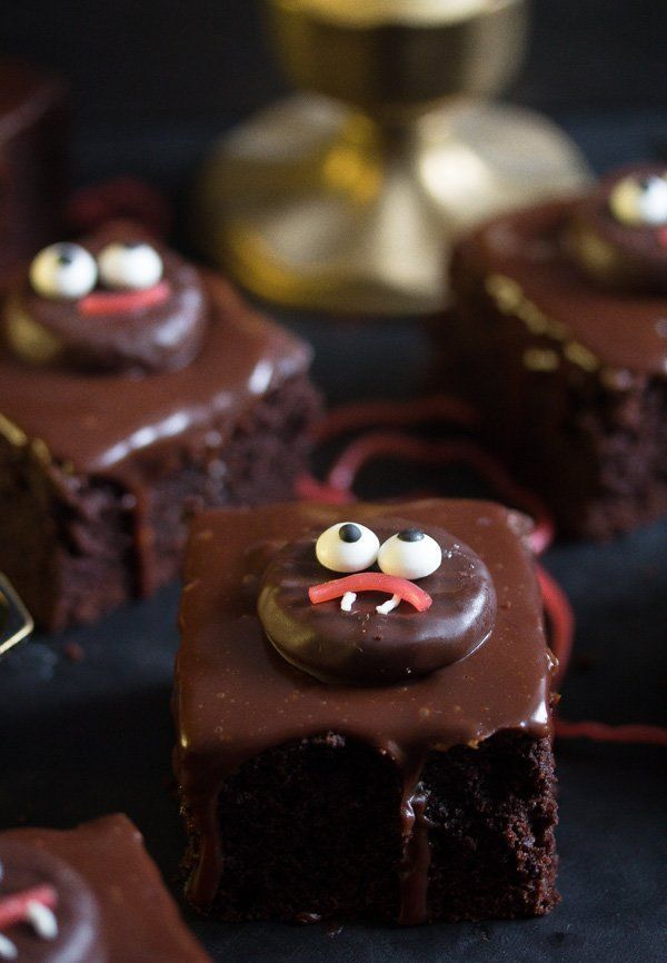 Halloween Brownies Cute and easy Halloween brownies to make with your kids, rich chocolate glazed b