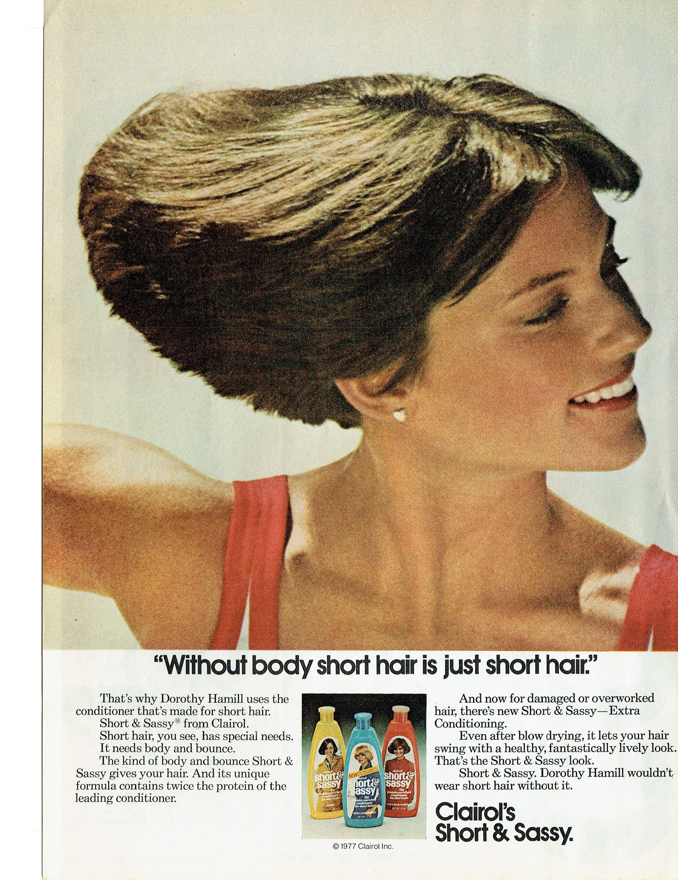 1977 Advertisement Dorothy Hamill Clairol Short And Sassy Conditioner Figure Skater 80s Celebrity Hair Salo Wedge Haircut Short Wedge Haircut Short Hair Styles