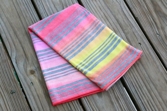 Ombré Sunset Swaddle - Cotton Knit Stretch Snuggle Baby Girl Blanket Pink Yellow Orange by Mint Chocolate Chip