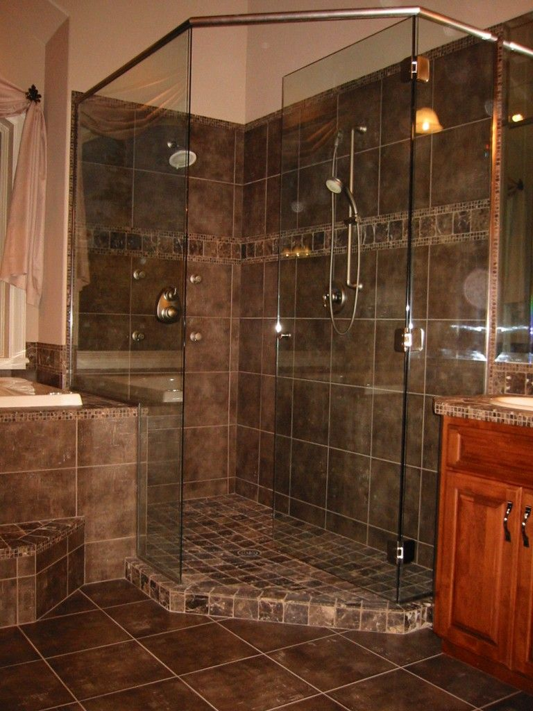 Tile shower pictures custom tile shower kitchen bath for Tile shower floor ideas