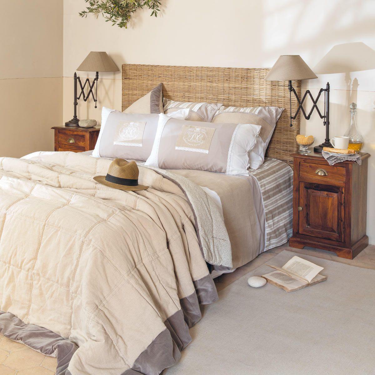 Cabecero De Cama De Rat N Trenzado Key West Combinado Con Madera  ~ Cabeceros Para Camas De Matrimonio