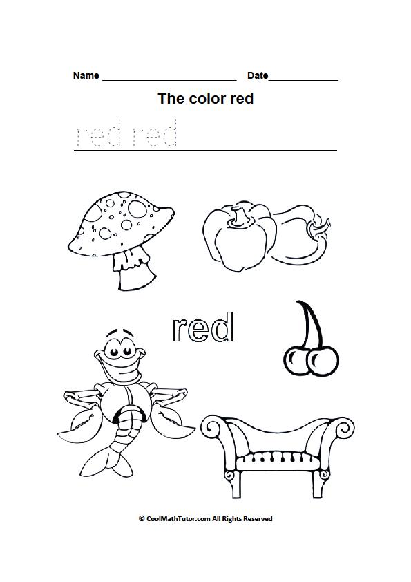 Printable Red Color Worksheet