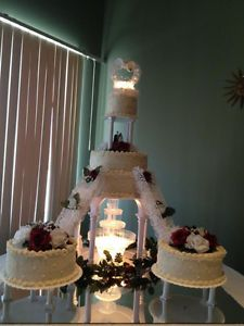 Wilton Wedding Cake Stands And Fountain With Bridge And Stairs