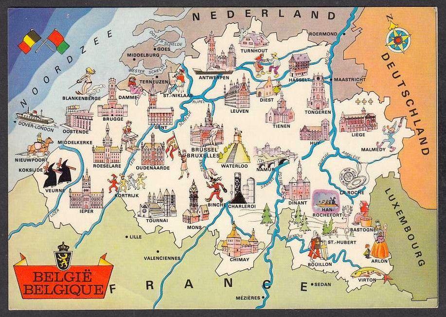 Carte Belgique Mons.Belgique Avec Mons Et Son Beffroi Carte Geographique Illustree