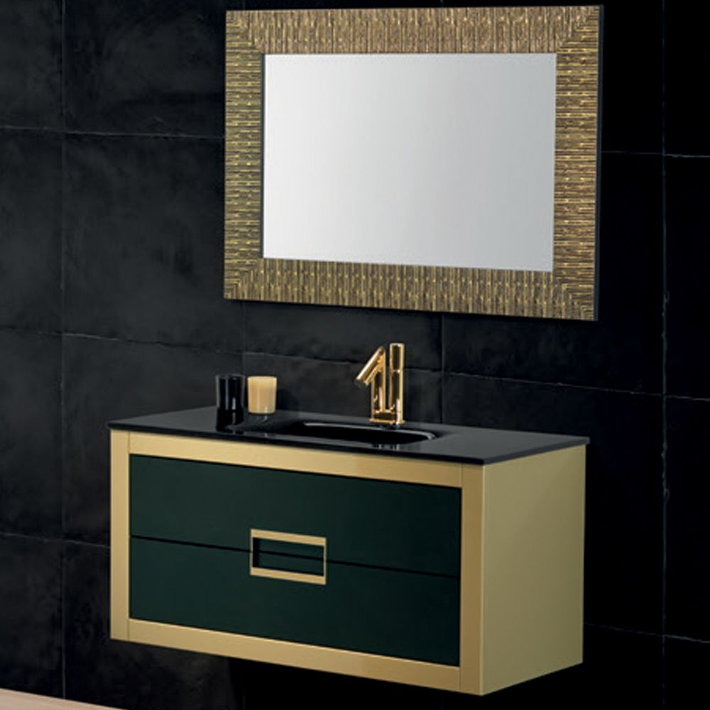 Danya Gold Leather Modern Bathroom Vanity 32 Inch  Azer Amazing Modern Bathroom Vanity Inspiration Design