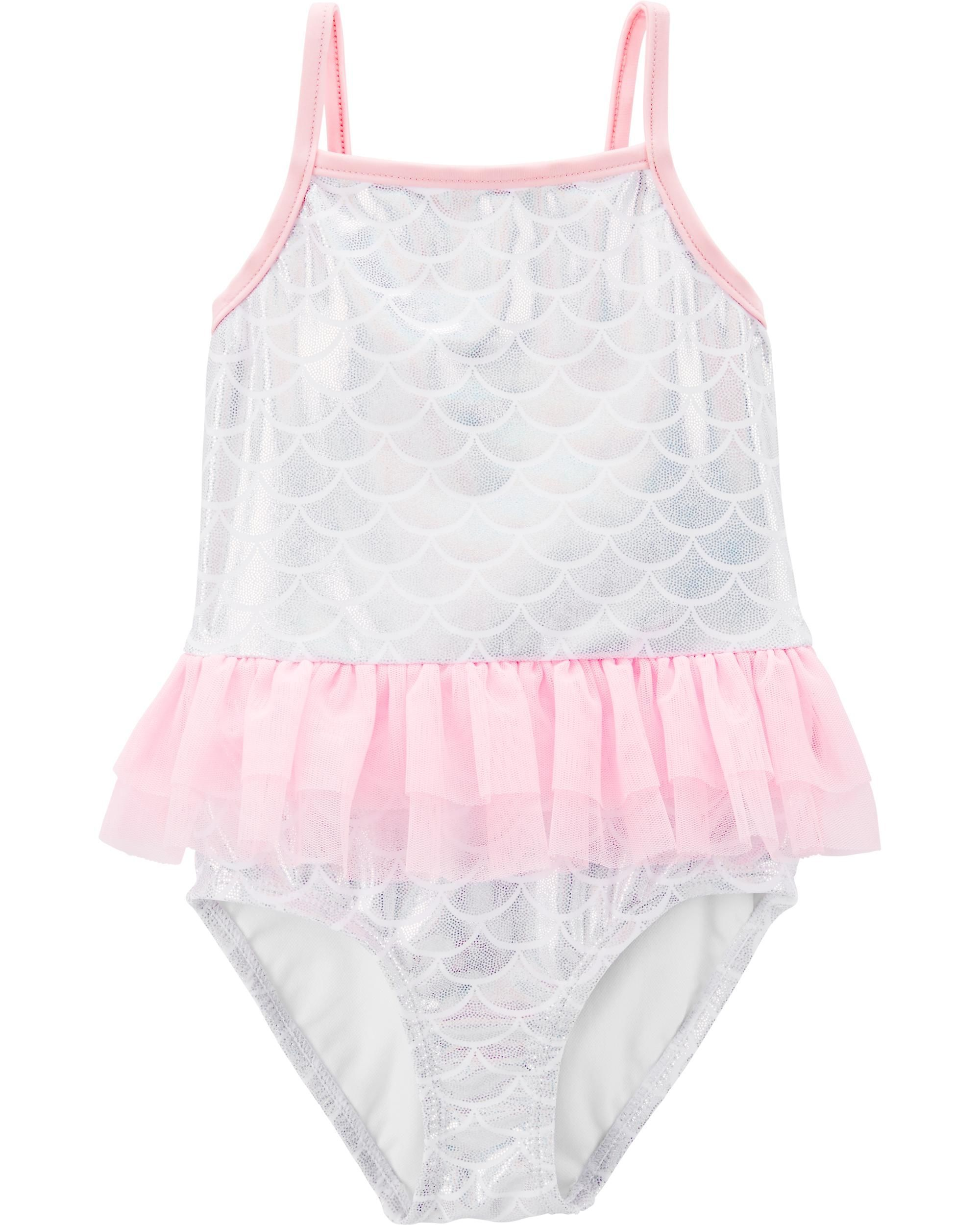 Carters Girls 2-Piece Eyelet Tankini Neon Pink