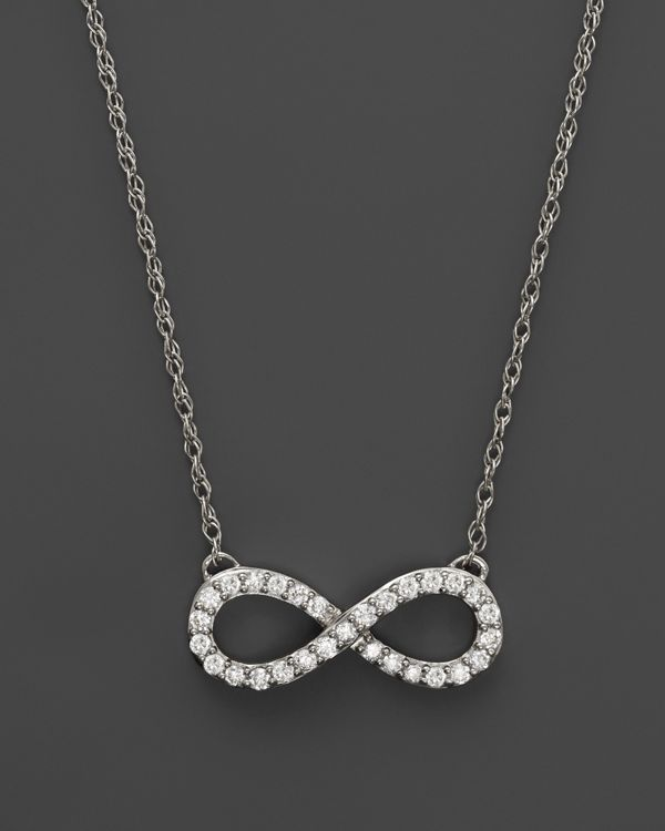 Diamond Infinity Pendant Necklace in 14K White Gold, .20 ct. t.w.