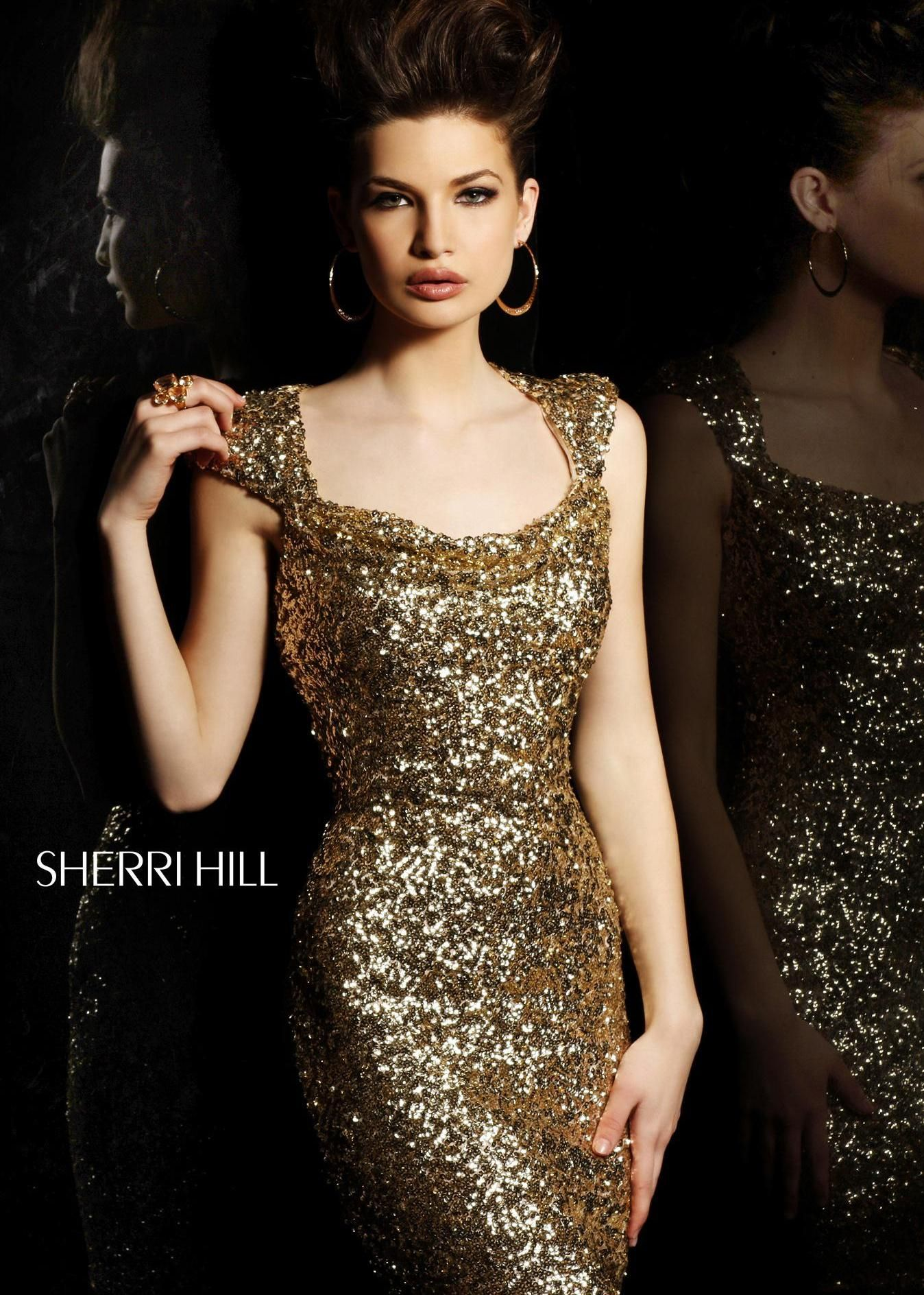 Sherri hill prom dress style available in gold black red