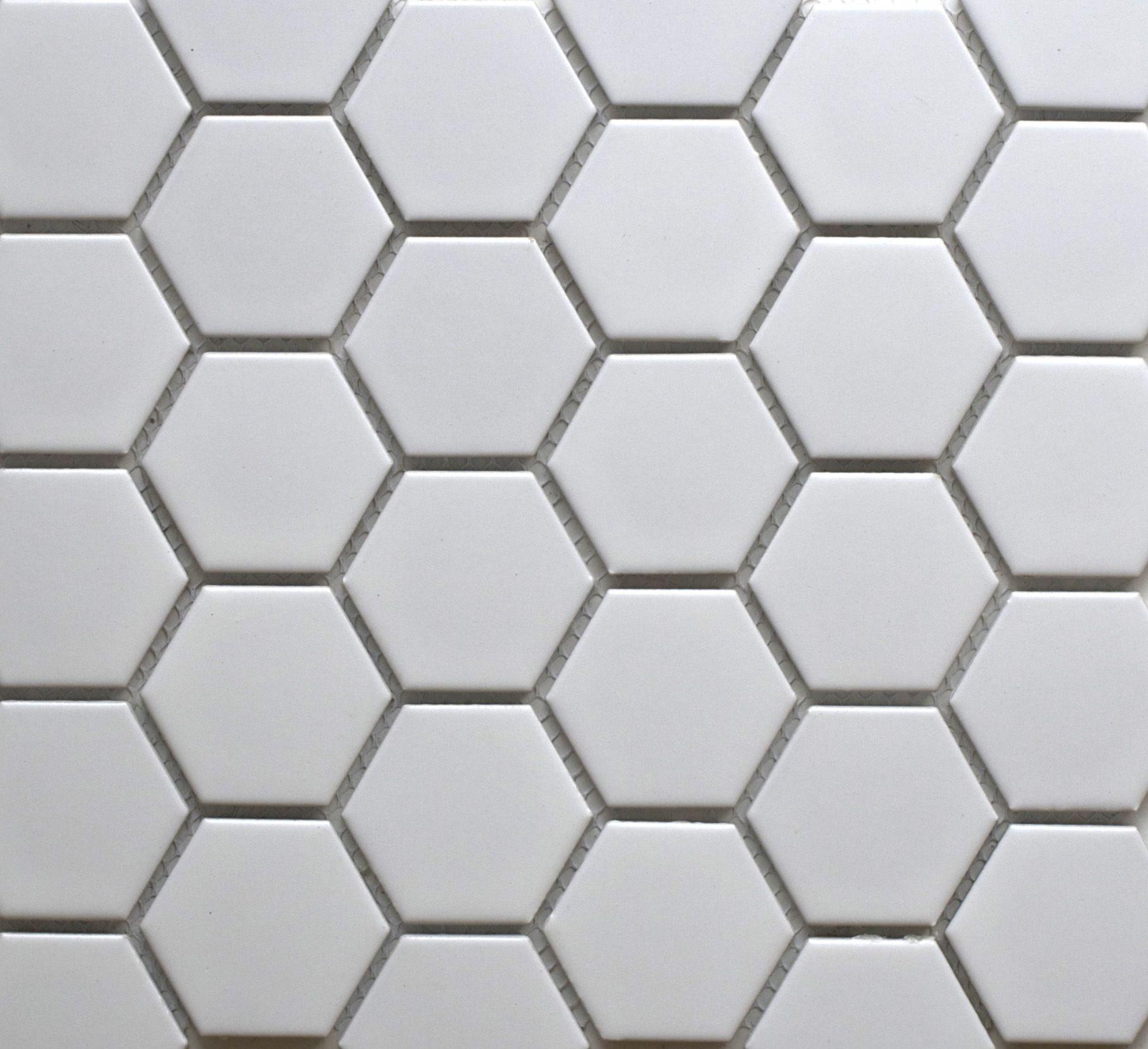 26858 Hexagon Matt White 50mm Bespoke Tile Stone