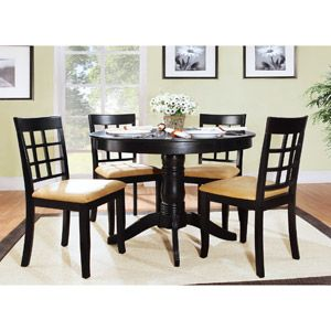 Whole Set 349 Lexington 5 Piece Round Table Dining With Window Back Chairs Black