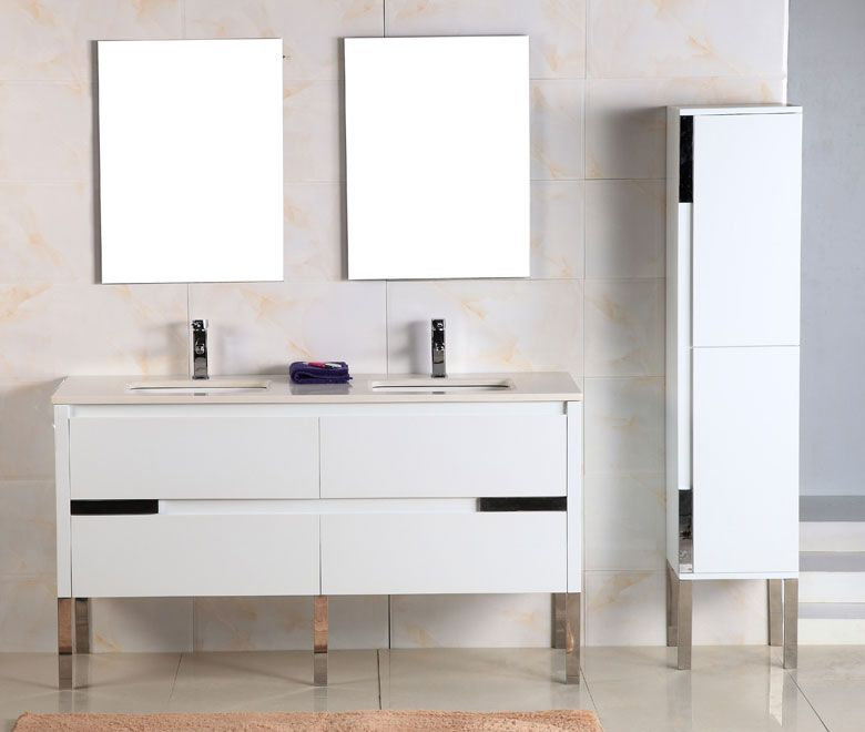 Adoos 60 inch Double Sink White Finish Modern Bathroom Vanity