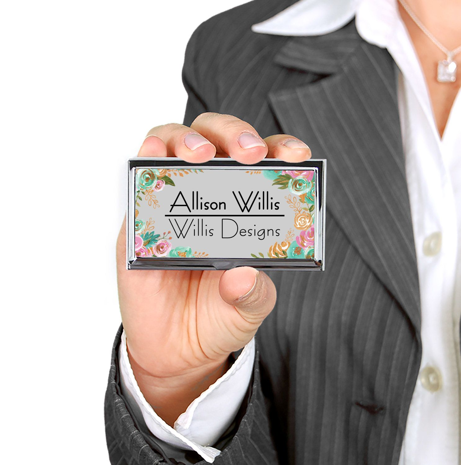 Personalized business card case custom business card holder personalized business card case custom business card holder graduation gift promotional items classy floral design business reheart Choice Image