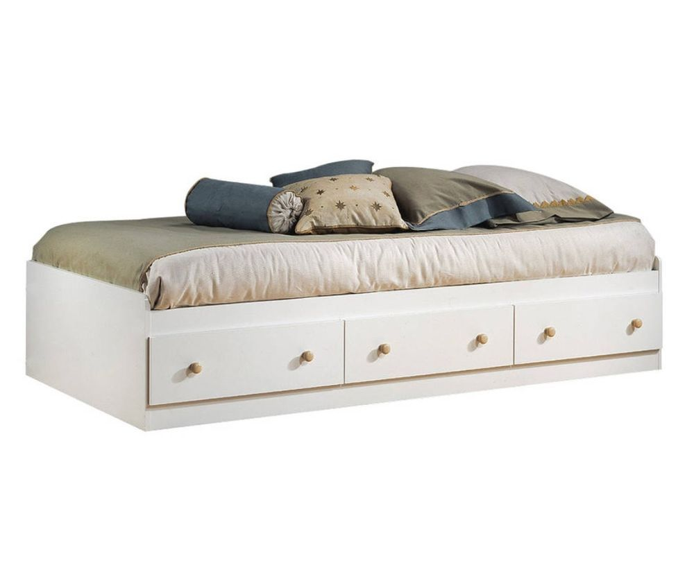platform storage bed frame twin size with 3 drawers white
