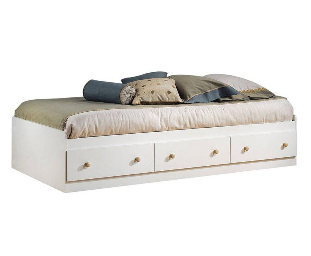 platform storage bed frame twin size with 3 drawers white - Twin Bed Frame With Storage