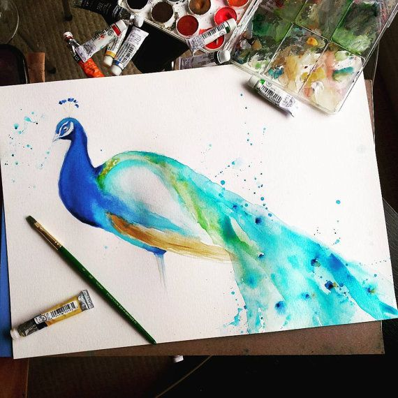 Peacock Watercolor Painting Peacock Decor Peacock Painting