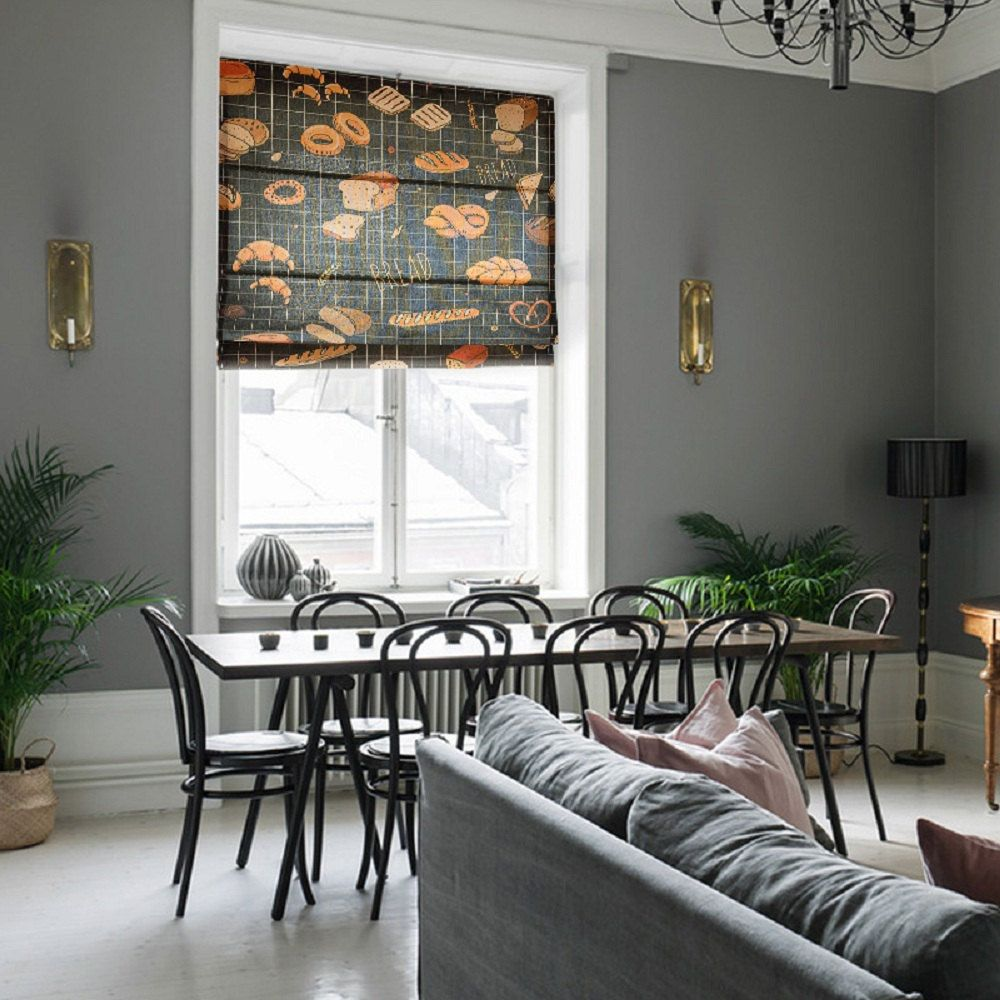 A black linen fabric roman shade perfect for the kitchen