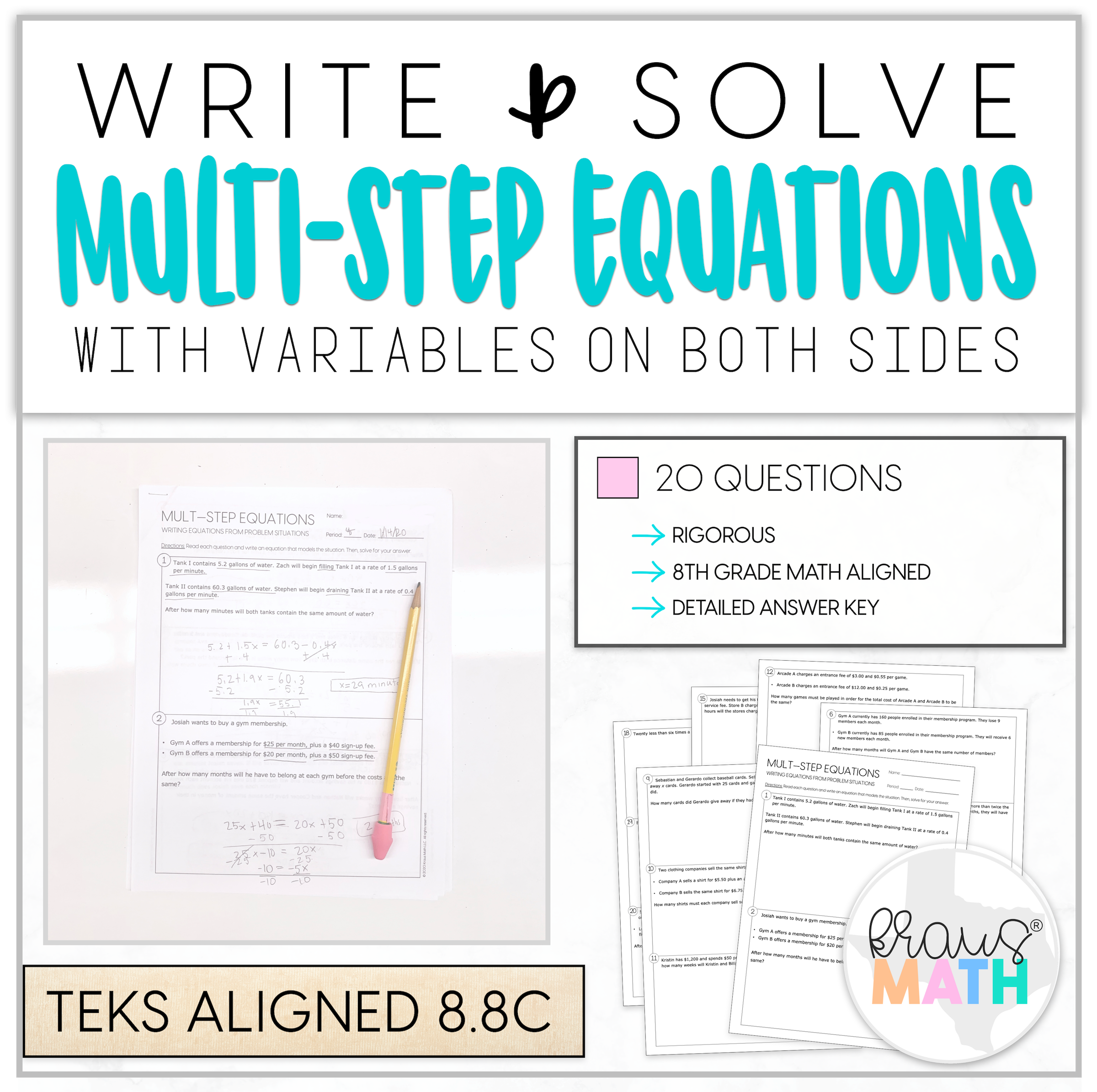 Write Amp Solve Multi Step Equations Worksheet 8 8c In