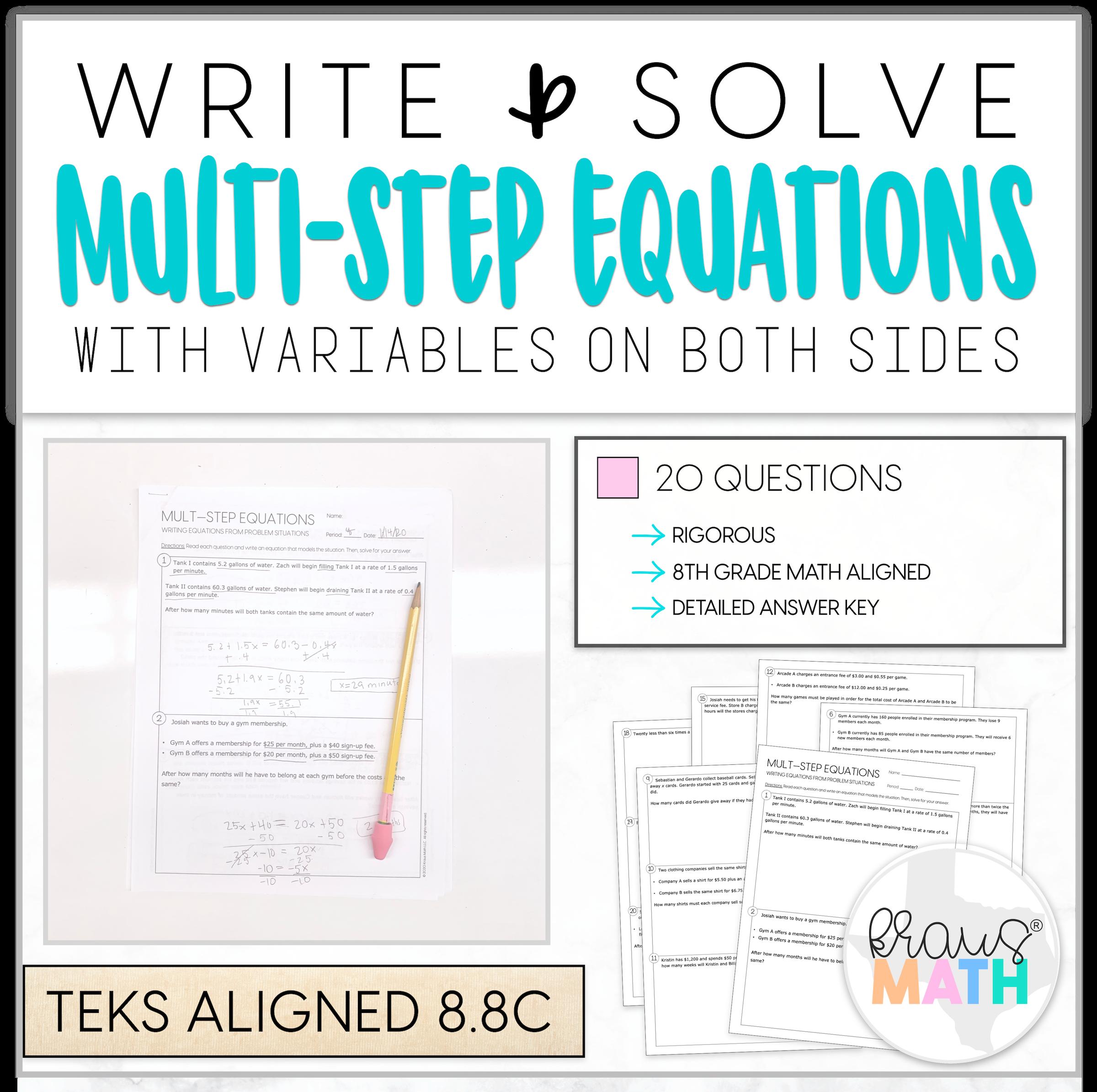 Write Amp Solve Multi Step Equations Worksheet 8 8c In