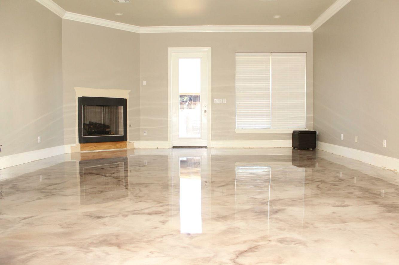 Marbleized metallic epoxy epoxy floors decorative for Decorative concrete floors