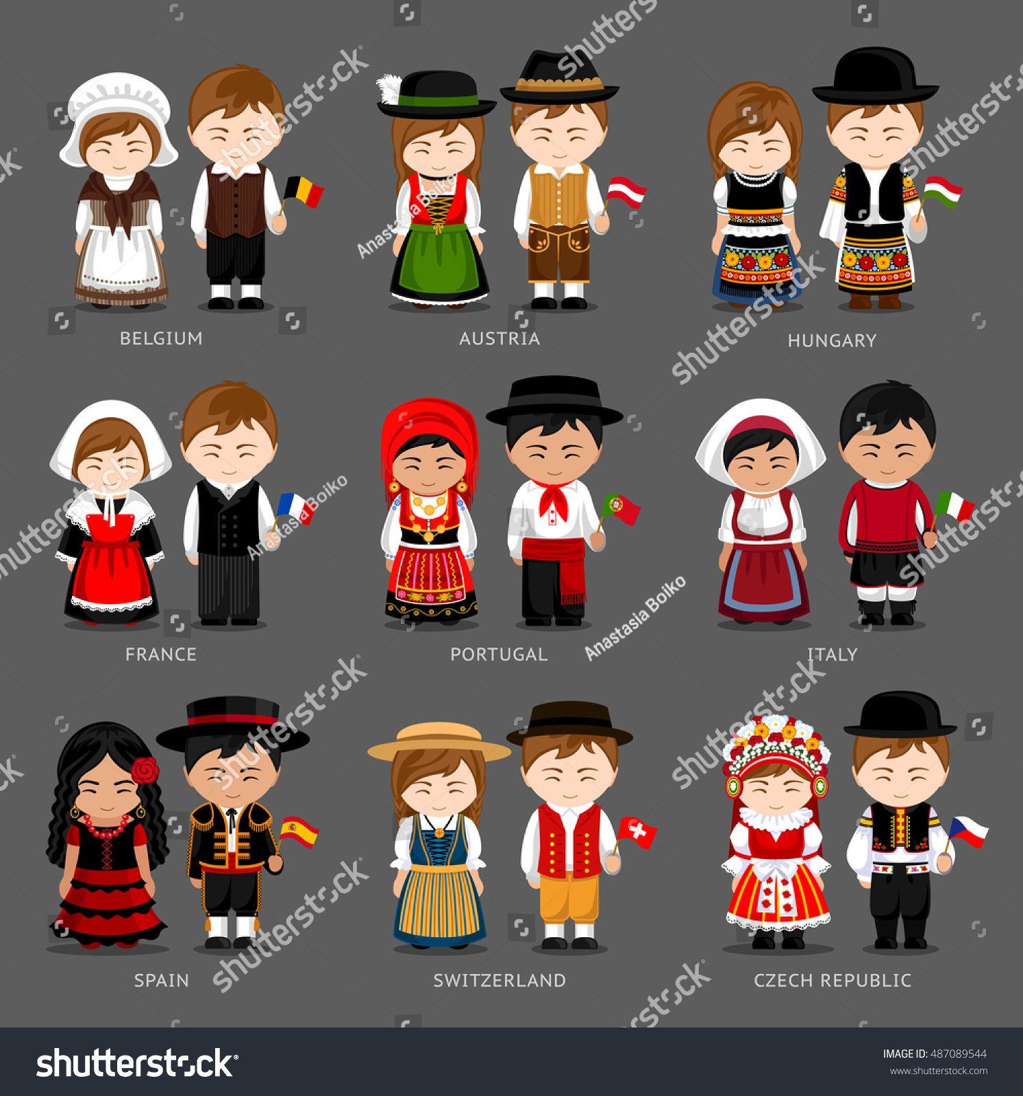 People In National Dress Belgium Austria Hungary