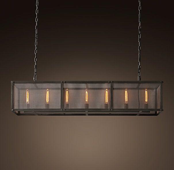 riveted mesh rectangular chandelier 60 - Rectangular Pendant Light Dining