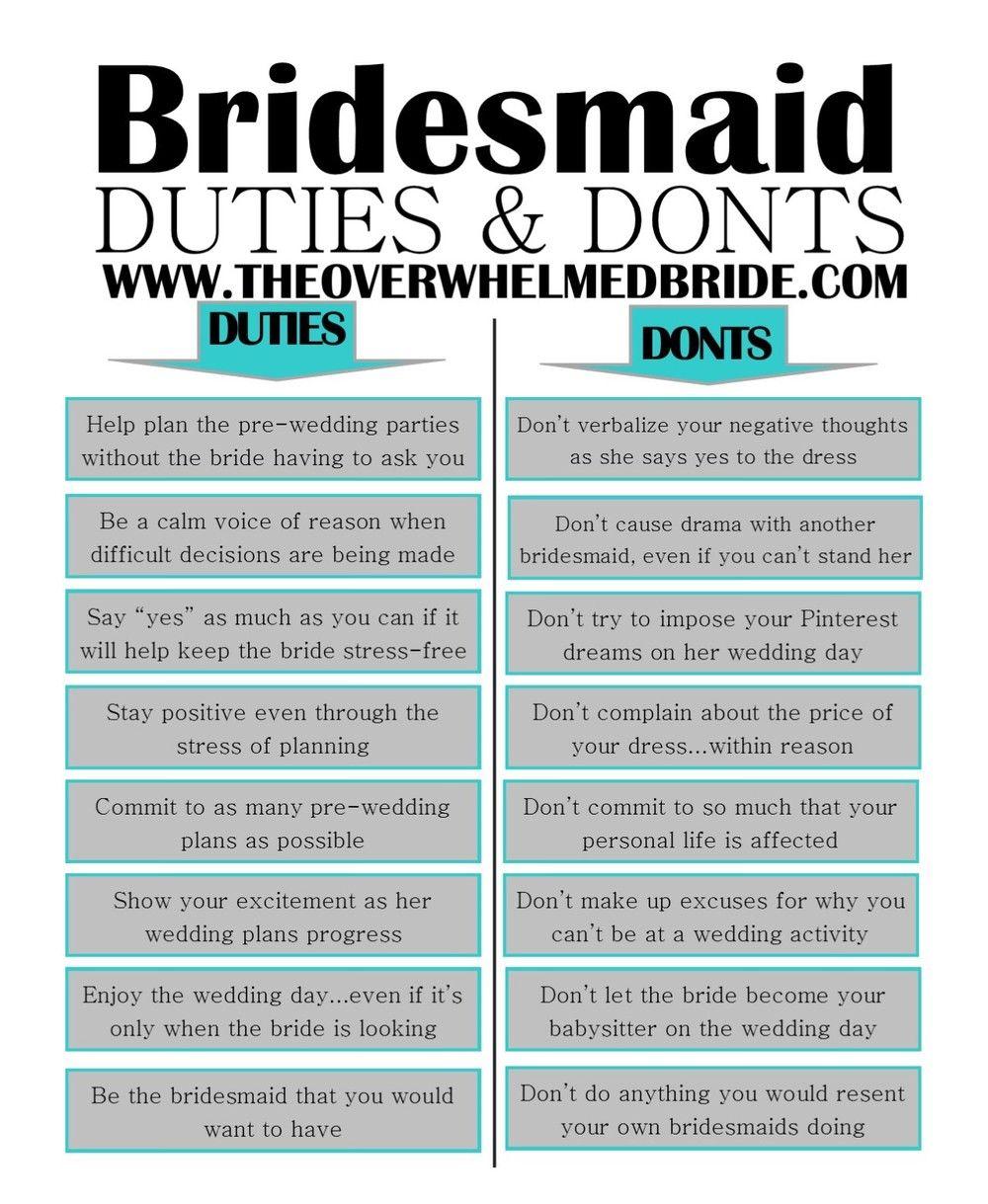Bridesmaid S Duties And Don Ts