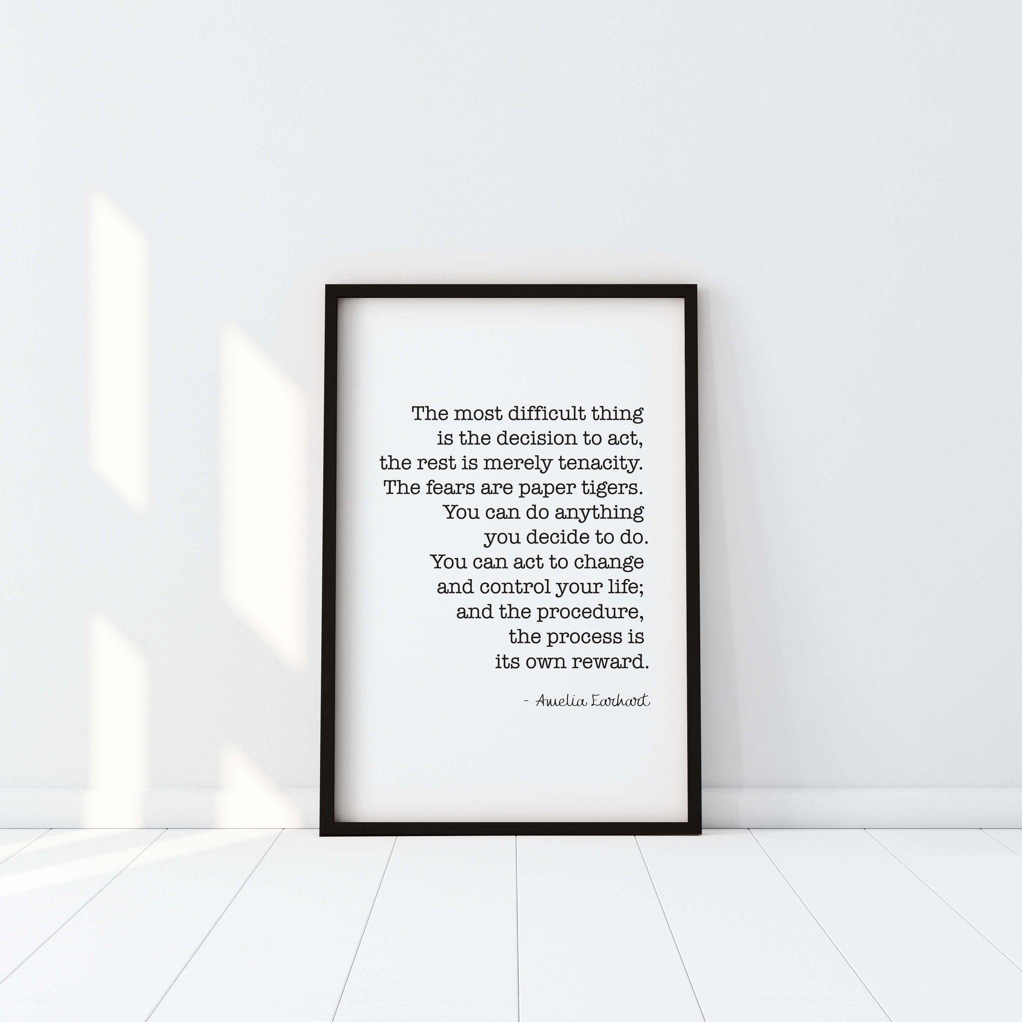Amelia Earhart Inspirational Female Digital Wall Quote Art