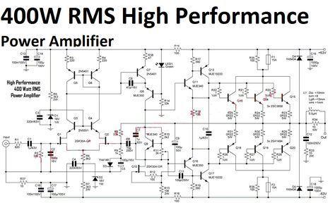 high performance power amplifier 400 watt circuit diagram amp rh pinterest com Tl070 Preamplifier Circuit 9V Preamplifier Circuit Diagram