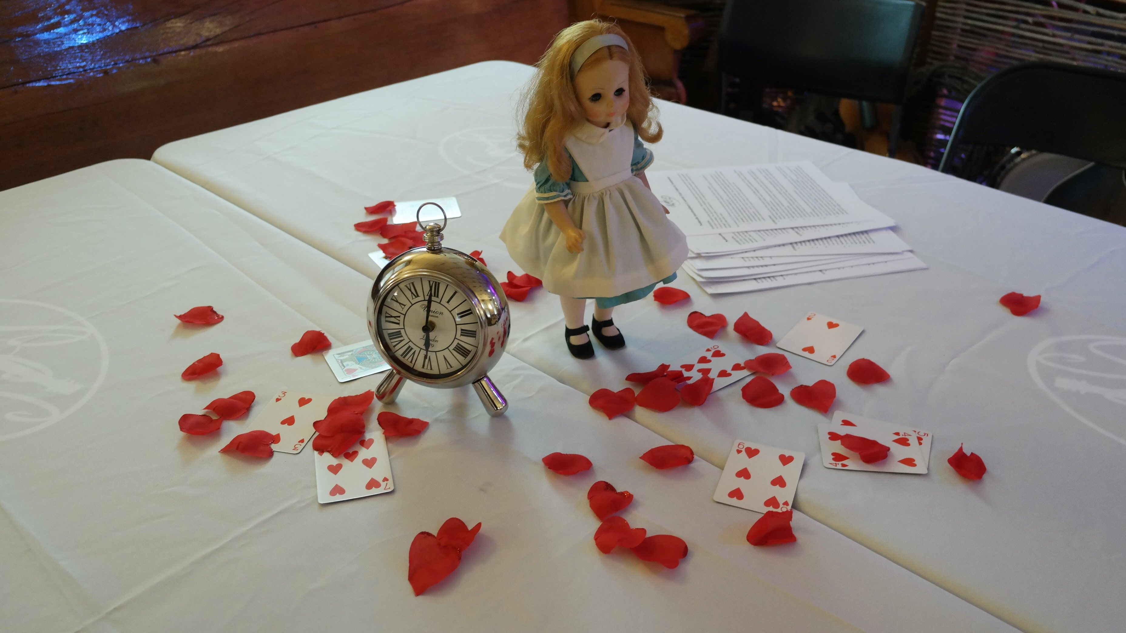 Centerpiece for Alice in Wonderland Mad Tea party, a NICE (Noblesville Interdisciplinary Creativity Expo) literary pre-event.