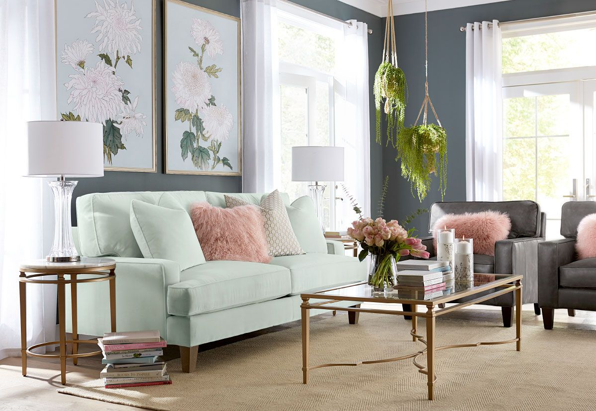 Living Room With Mint Green Couch Green Living Room Decor Green