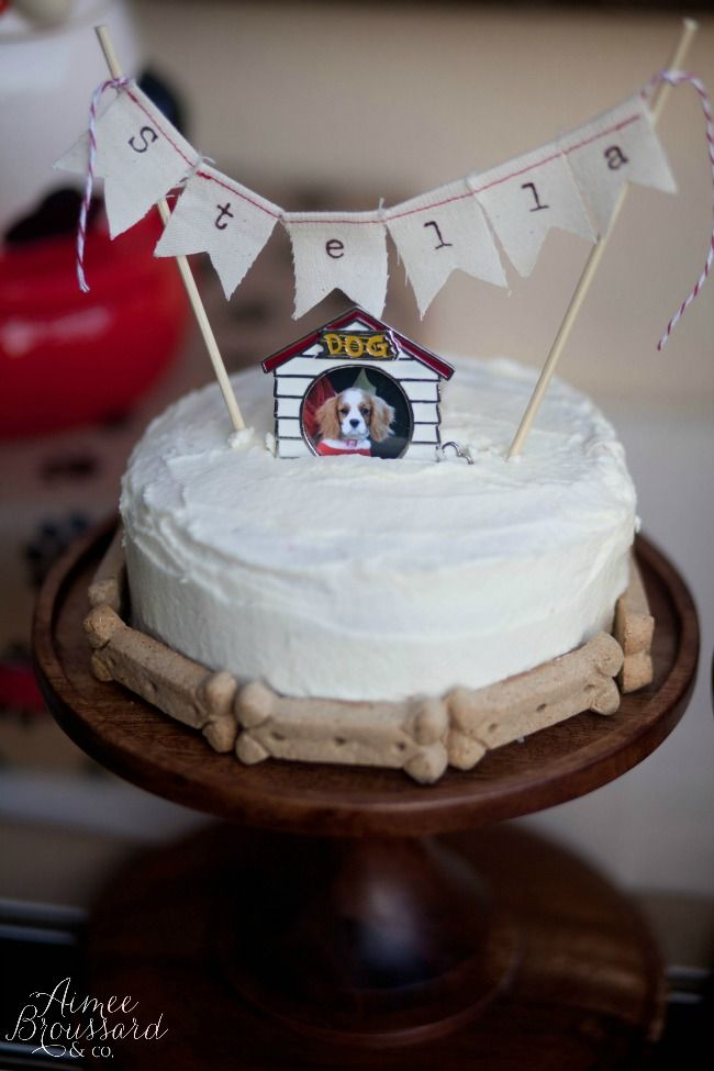 Birthday Cake For Dogs Adorned With Biscuit Treats Handmade Bunting Dogparty