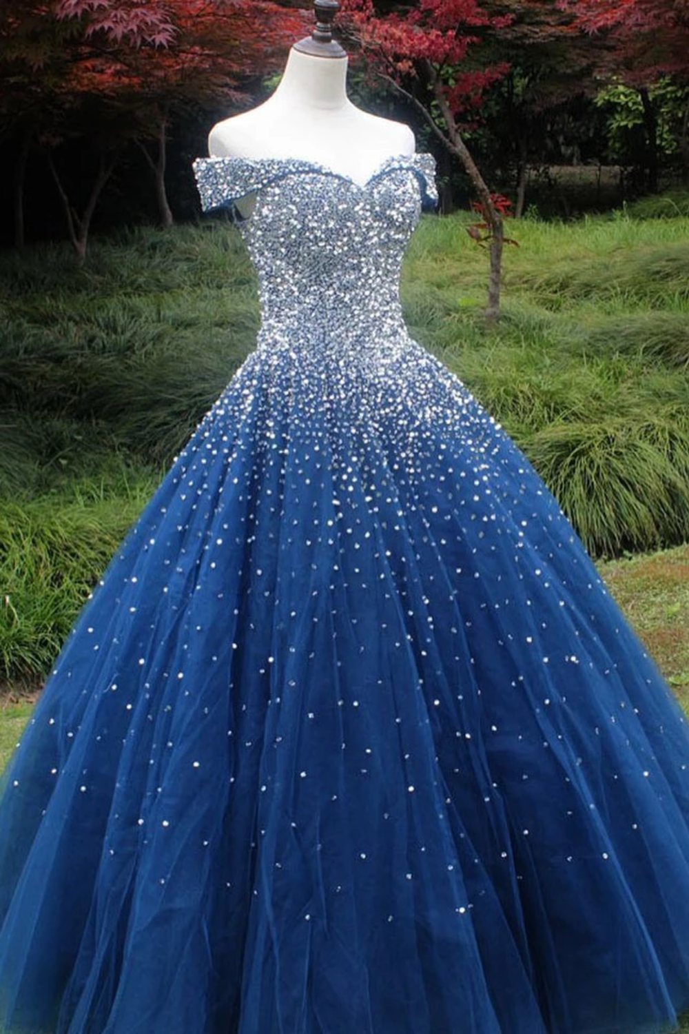 Sparkle Off The Shoulder Blue Ball Gown Prom Dresses, Puffy Tulle Quinceanera Dresses