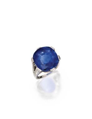 Platinum, Sapphire and Diamond Ring - Sotheby's