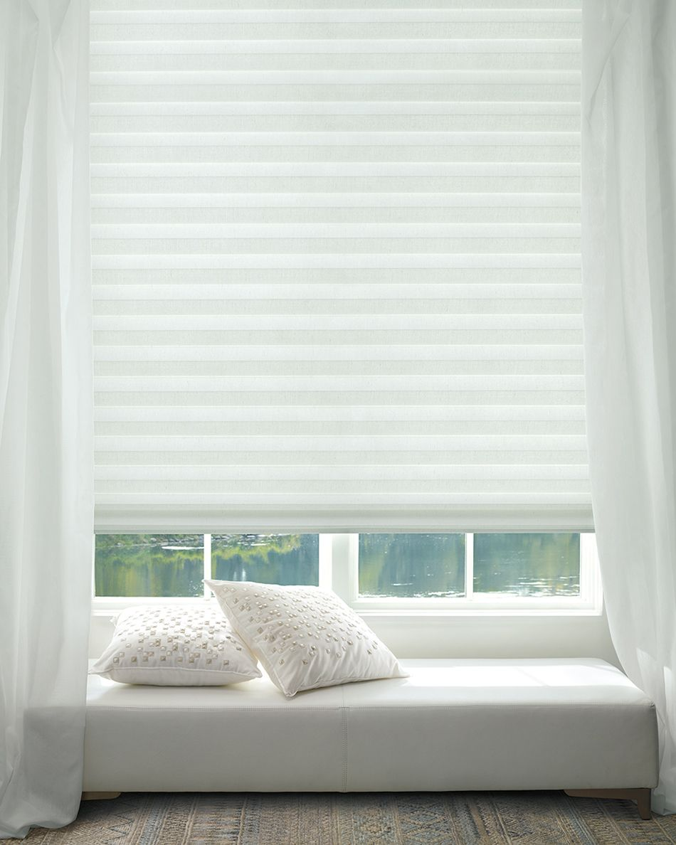 Create Calm With A White Design And Solera Soft Shades They Are Timeless Pure And Will Transcend All S Hunter Douglas Custom Window Blinds Motorized Shades
