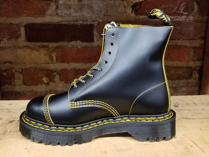 8 Eye Black BEX Sole Boot With Yellow
