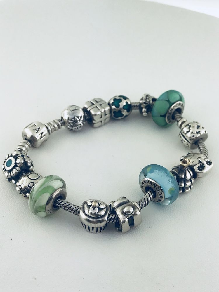 18b92137b Pandora Sterling Silver 14 Charms Bracelet 7.5