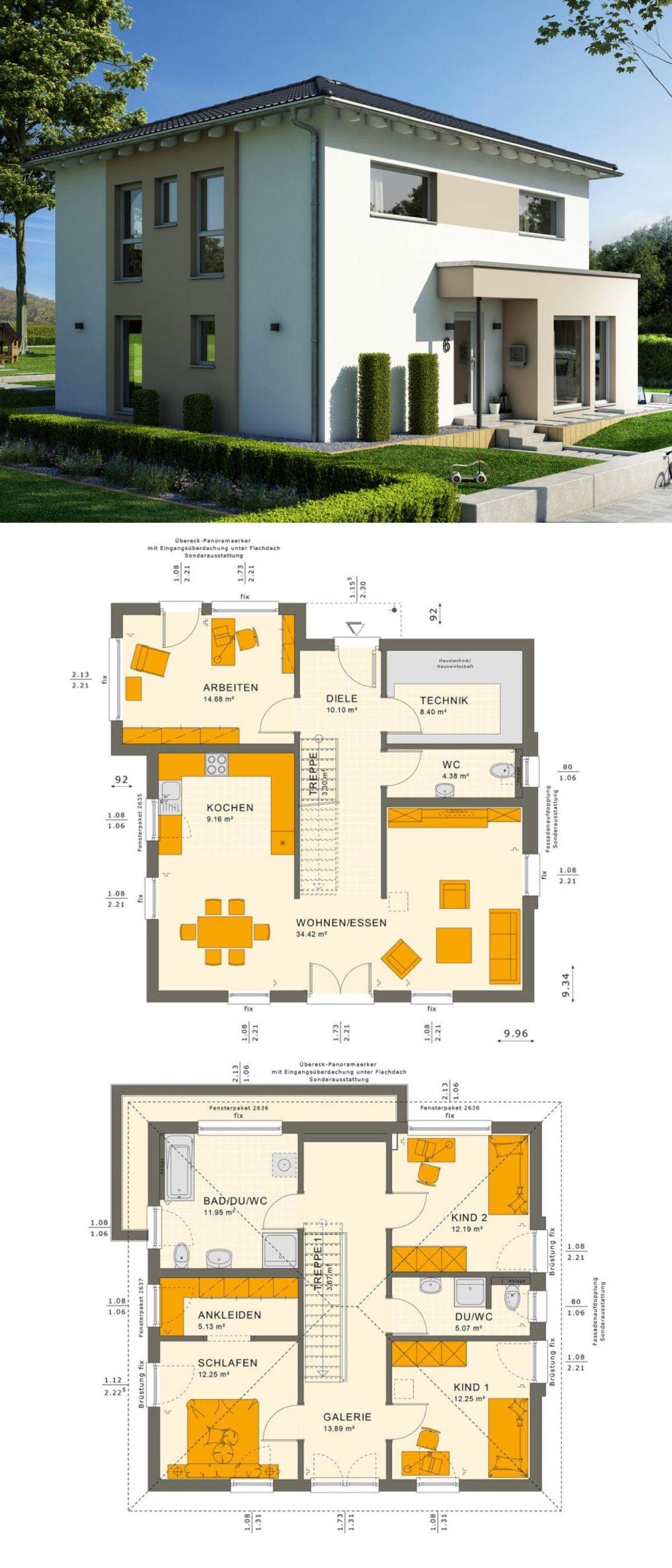 Stadtvilla haus modern mit galerie walmdach architektur for Einfamilienhaus bauen ideen