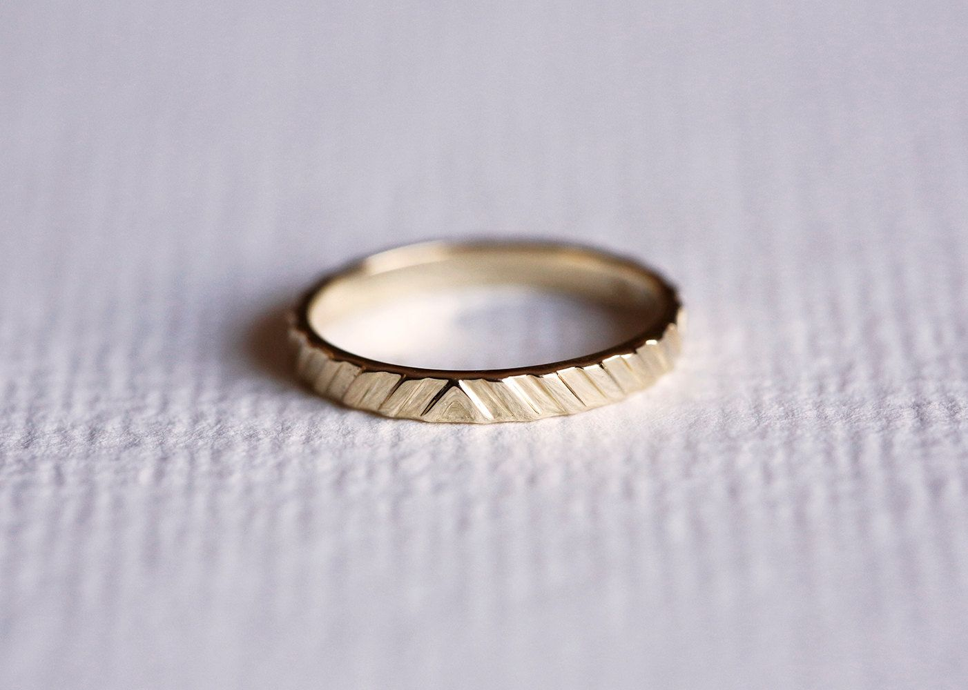 Simple Gold Band Stacking Gold Ring Textured Gold by MinimalVS
