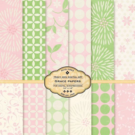 Grace Digital Paper Pack for invites, card making, digital scrapbooking