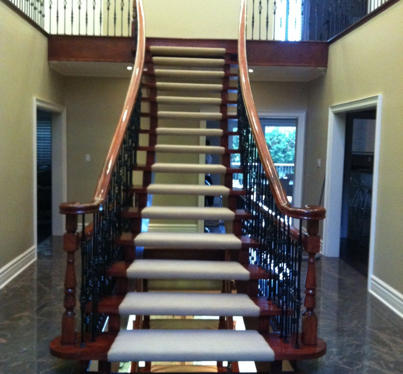 Custom Size Carpet Runner Install On Floating Stairs