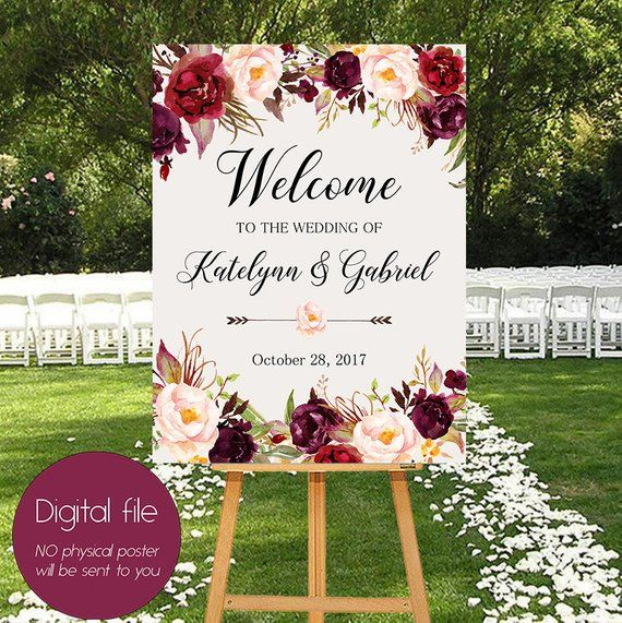 Photo of Welcome Wedding Sign, Wedding Decoration, Burgundy Peonies, Wedding Reception Sign, Bride Wedding Welcome Poster, Welcome Wedding Sign WS-024