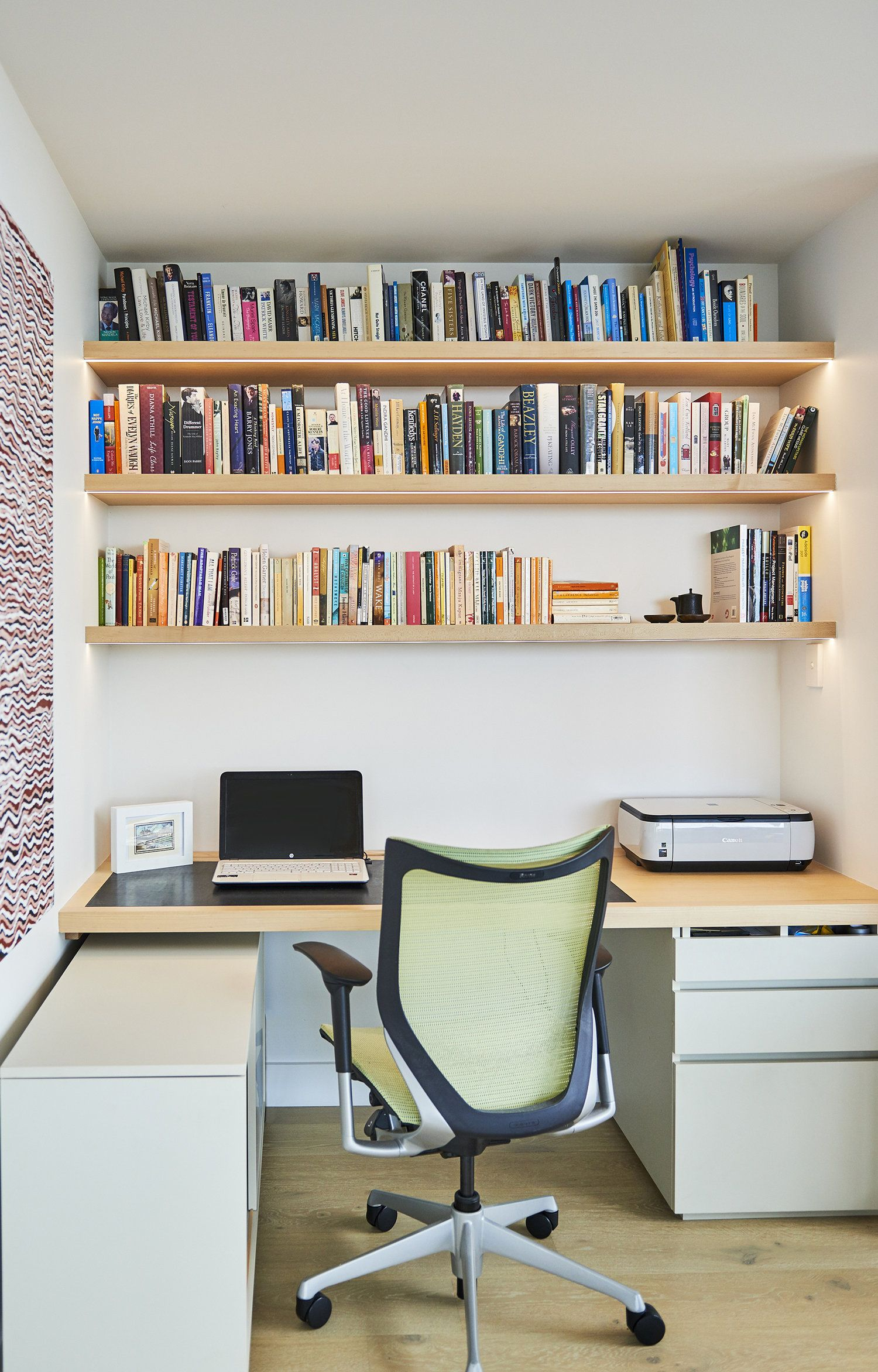 Shelving Adelaide Adelaide Apartment Home Office With Strip Lighting Under Each
