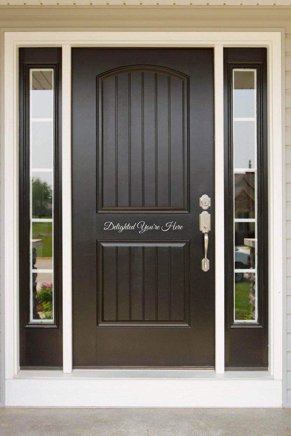 Delighted You Re Here Front Door Entryway Or Wall Vinyl Etsy Front Door Decal Exterior Doors Front Door Entryway