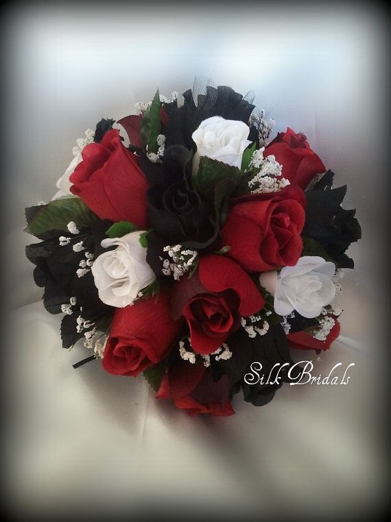 Black White Red ROSES Bridal BOUQUET Bridesmaid Silk Wedding Flowers