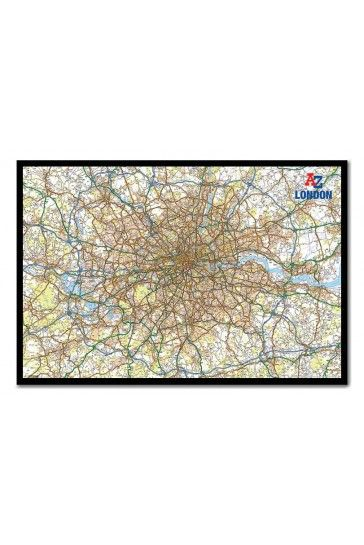 A - Z London And M25 Map Pin Board Includes Pins - Choice Of Frames iPosters From £56.95