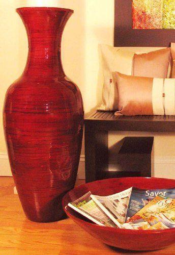 Shopping The Globe 36 Tall Bamboo Floor Vase Mahogany Red By
