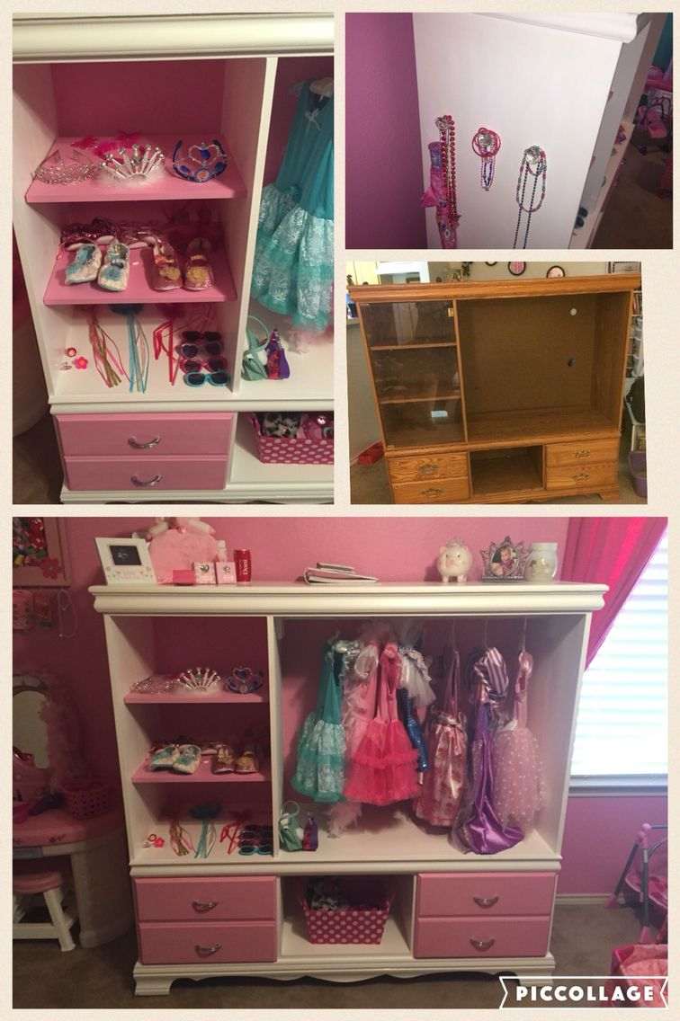 Refurbished Old Entertainment Stand To A Little Girls Dress Up Closet